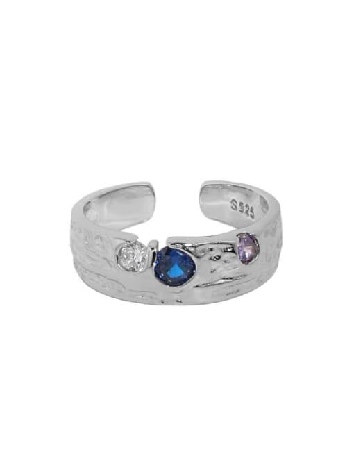 White gold [No. 13 adjustable] 925 Sterling Silver Cubic Zirconia Irregular Vintage Band Ring